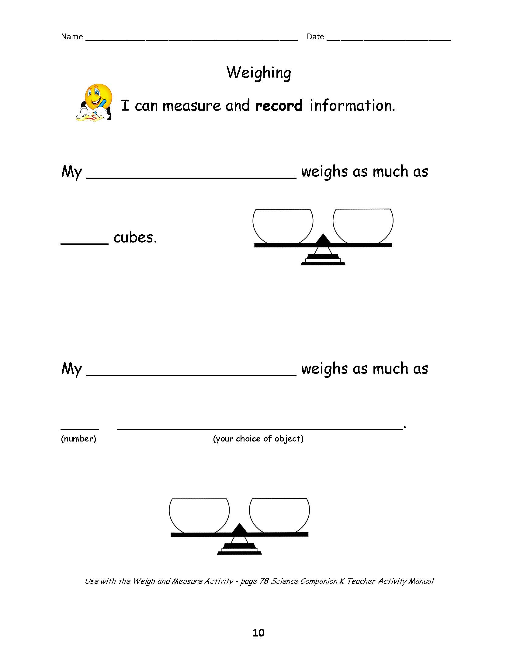 Science And Children Online Connections 4th Grade Worksheets Electric Circuit Checklist Measuring Worksheet Weighing