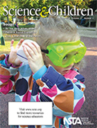 Cover of journal, Science and Children, shows child using science tools--goggles and a homemade musical instrument.